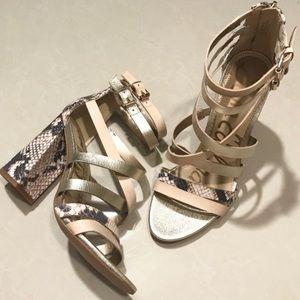 Sam Edelman Snake Embossed Yema Block Heel Sandals